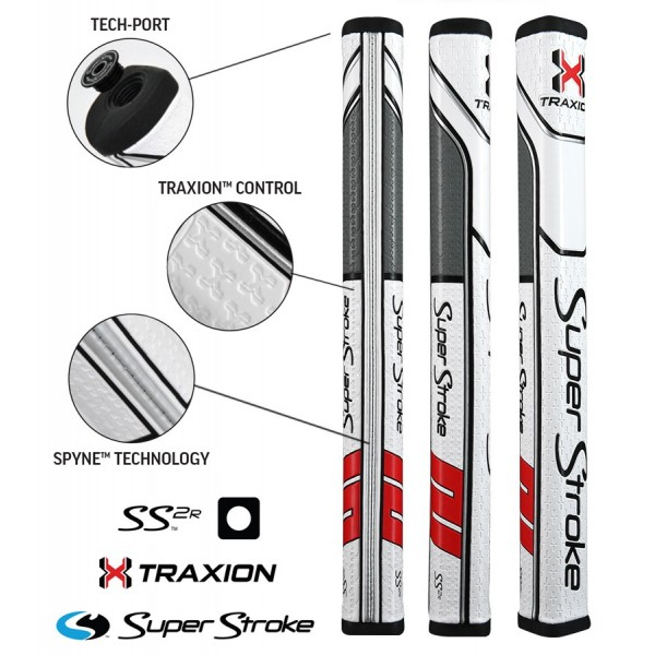 TRAXION Square Putter Grip White / Red / Grey